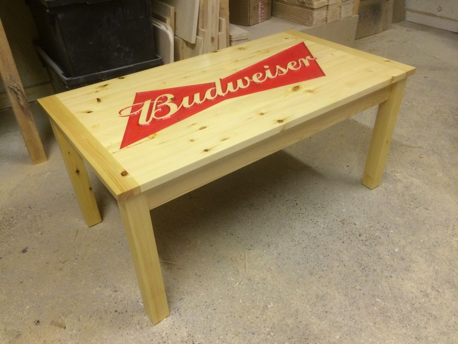 Strange Bespoke Carved Budweiser Coffee Table Man Cave Lady Cave Home Interior And Landscaping Oversignezvosmurscom