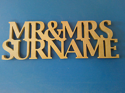 MR & MRS MDF WOODEN LETTERS PERSONALISED CUSTOMISED FREESTANDING WEDDING GIFT